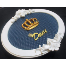 Quadro Porta De Maternidade Oval Coroa Príncipe Nome Em Mdf