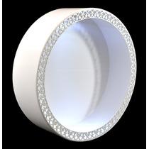 Nicho Redondo Branco Arabesco Laser Com Led 37x37x12 Mdf
