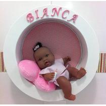 Enfeite Quadro Porta Maternidade Boneca Dorminhoca Negra