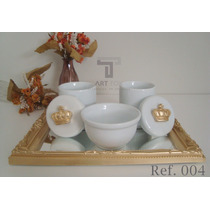 Kit Higiene Bebe Porcelana Coroa Passarinho Bandeja Espelho