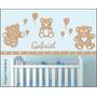 Kit Decoração Quarto Parede Bebê Masculino Completa Mdf