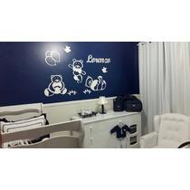 Kit Completo Decoração Painel De Parede Mdf Branco Ursinhos