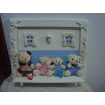 Enfeite Quadro E Porta Maternidade Ursinhos Gêmeos Familia