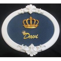 Quadro Porta De Maternidade Oval Coroa Príncipe Nome Mdf