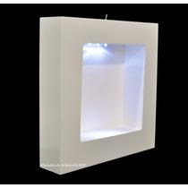 Nicho Quadrado Branco Com Led 30x30x6 Porta Maternidade