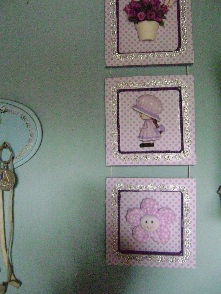 Quadro Decorativo Para Quarto De Menina(trio) R$ 30,00  ~ Ver Quadros Para Quarto