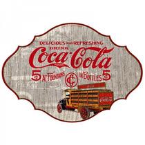 Placa De Madeira Coca Cola- Produto Licenciado