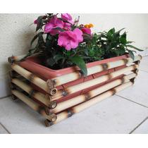 Cachepô De Bambu Com Jardineira 60 Cm Decoração Jardinagem