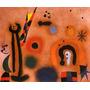Arte Abstrata Dragão Asas Vermelhas Pintor Miró Repro Tela