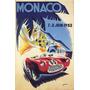 Cartaz Poster Vintage Corrida Carro Automovel Monaco 1952