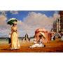 Verão Mãe E Filha Praia Mar Areia Sol Pintor Maley Tela Repr