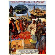 Viagens Espanha Mulheres Vestidos Leques Poster Repro