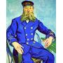 França Carteiro Vestido Azul Reprodução De Van Gogh Na Tela