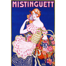 Mistinguett Mulher Cesta Flores Poster Repro