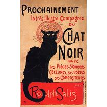França Francês Chat Noir Gato Preto Salis Poetas Poster Rep