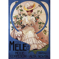 Mulher Época Vestido Chapéu Frutas Poster Repro