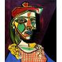 Mulher Com Barrete Vestido Xadrez Pintor Picasso Tela Repro