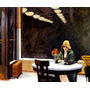 Mulher Pensativa Café Cesta Frutas Pintor Hopper Tela Repro