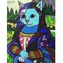 Mona Cat - Releitura Romero Britto 70 X 100cm