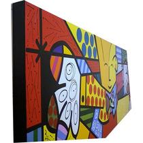 Quadro Romero Brito - O Abraço - Pintado À Mão 100x40 Cm