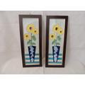 Par Quadro Faiança Emoldurada - Cerâmica Azulejo 30x10cm