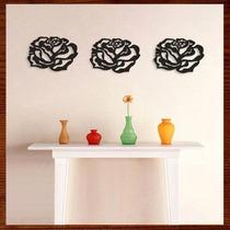 Trio Quadro Decorativo Escultura De Parede Mdf Rosas Pequena