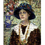 Retrato Mulher Com Flores Pintor Prendergast Na Tela Repro