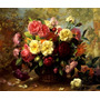 Lindas Flores Rosas Coloridas Pintor Williams Repro Tela