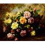 Lindo Buquê De Rosas Coloridas Pintor Williams Repro Tela