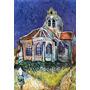 Igreja Pintura Óleo Feita Mão Vincent Van Gogh Repro