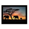 Pôster Com Moldura Preta Elefantes Áfricanos Grande