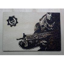 Gears Of War Xbox 360 - Quadro Pirógrafo - Marcus Fenix Game