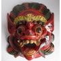 Máscara De Bali Deus Barong Madeira Esculpida A Mão