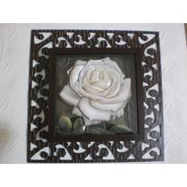 Quadro Decorativo Em Arte Francesa -rosa Branca
