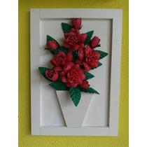 Quadro Em Mdf Com Flores De Eva - Apiadinho Vermelho