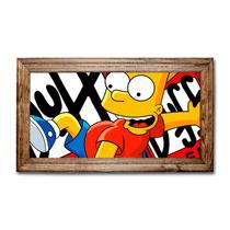 Quadro Bart Simpsons E Duff C/ Moldura Em Madeira