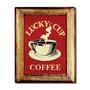 Quadro Lucky Cup Coffee C/ Moldura Em Madeira