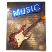 Enfeite Guitarra Music On The Wall De Metal