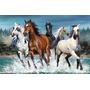 Quadro Decorativo Em Tela 90x60 Cm - Cavalo Selvagem Agua
