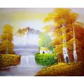 Quadro Pintura Oil Paisagem Outono Pintado A Mão 40x30cm