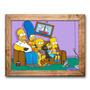 Quadro The Simpsons No Sofá C/ Moldura Em Madeira