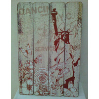 Placa Quadro Decorativo Vintage Estatua Liberdade New York