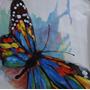 Quadro Tela A Óleo Pintura A Mão- Borboleta Colorida 55x55cm