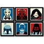 Kit 6 Quadros Star Wars Viloes Pop Art Decoracao Arte