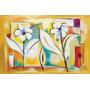 Quadro Decorativo Em Tela 100x65 Cm - Abstrato Flores Sala