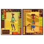 Par De Quadros Decorativos Arte Africana Abstrata 50x40cm