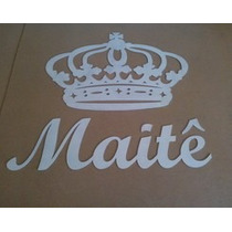 Coroa 60cm+nome 1 Metro Mdf Bco Provençal Decor Festa Parede