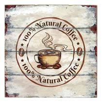 Placa Decorativa Café Natural Em Madeira - 30x30 Cm