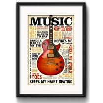 Quadro Musica Guitarra Rock Blues Arte Decoracao Paspatur