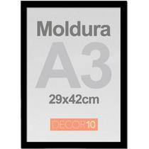 Kit C/ 10 Molduras Quadro A3 29x42cm Em Madeira C/ Acrilico